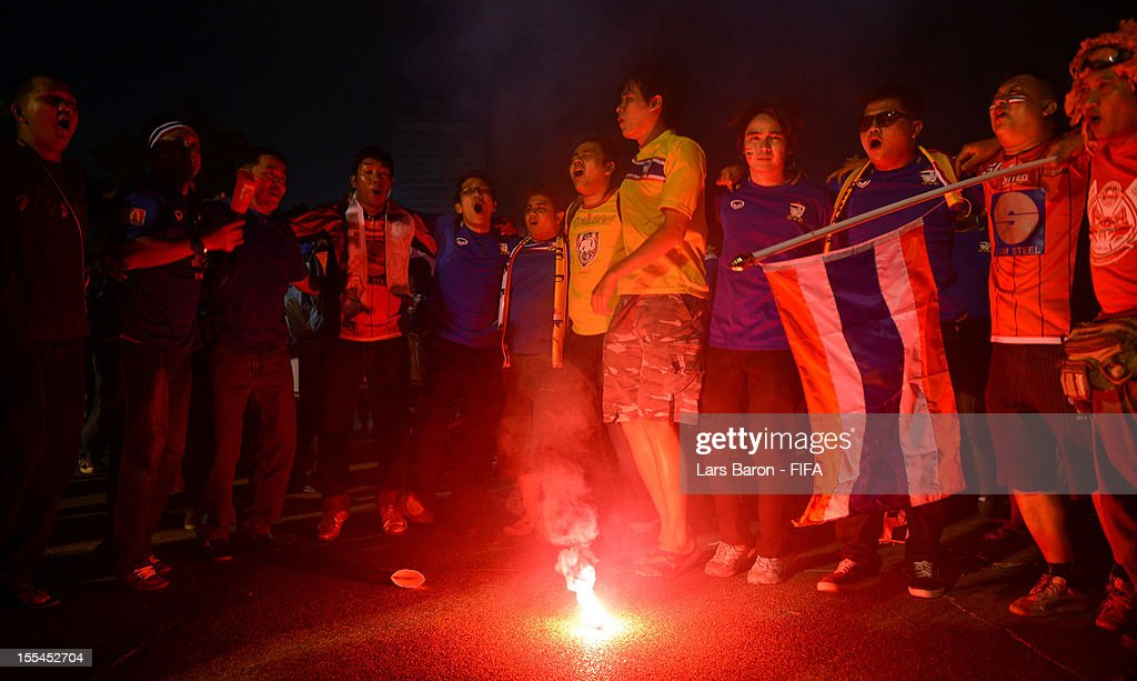 Fans of Thailand celebrate outside the stadium after loosing the FIFA Futsal World Cup Group A match between Thailand and Ukraine at Indoor Stadium Huamark on November 4, 2012 in Bangkok, Thailand.