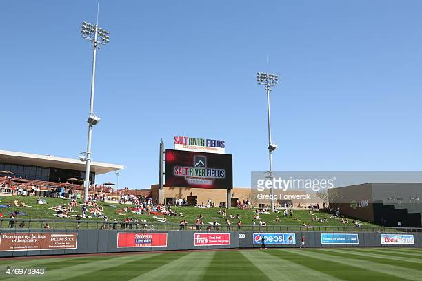 Fans of the Arizona Diamondbacks and the Los Angeles Dodgers watch a spring training baseball game at Salt River Fields at Talking Sticks on February...