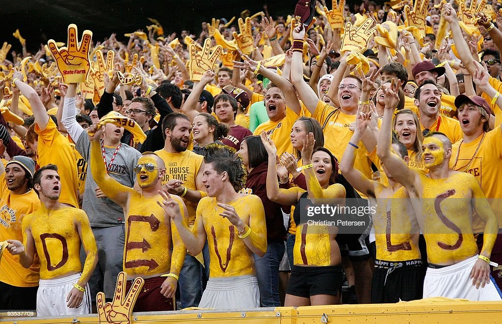 Fans of the Arizona State Sun Devils cheer during the college football game against the Arizona Wildcats at Sun Devil Stadium on November 28, 2009 in Tempe, Arizona. The Wildcats defeated the Sun Devils 20-17.