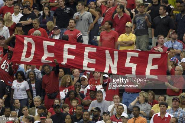 Fans of the Atlanta Falcons call for defense against the Houston Texans at the Georgia Dome on September 30 2007 in Atlanta Georgia The Falcons won...