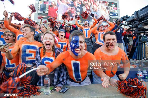 Fans of the Auburn Tigers cheer for their team during their game against the Texas AM Aggies at JordanHare Stadium on November 3 2018 in Auburn...