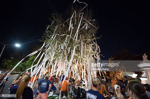 Fans of the Auburn Tigers roll trees at Toomer's Corner after defeating the Arkansas State Red Wolves at Jordan Hare Stadium on September 10 2016 in...