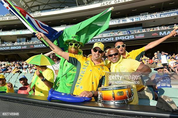 Fans of the Australia team cheer on their players during the oneday international cricket match between Australia and Pakistan at the Adelaide Oval...