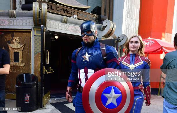 Fans of the Avengers arrive for a costume contest before the first screening of Avengers Endgame at the TCL Chinese Theater in Hollywood California...