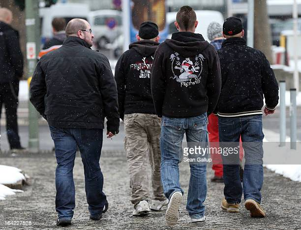 Fans of the band FreiWild arrive to protest against the band's expulsion from the nominations of the Echo Music Awards near the Berlin trade fair...