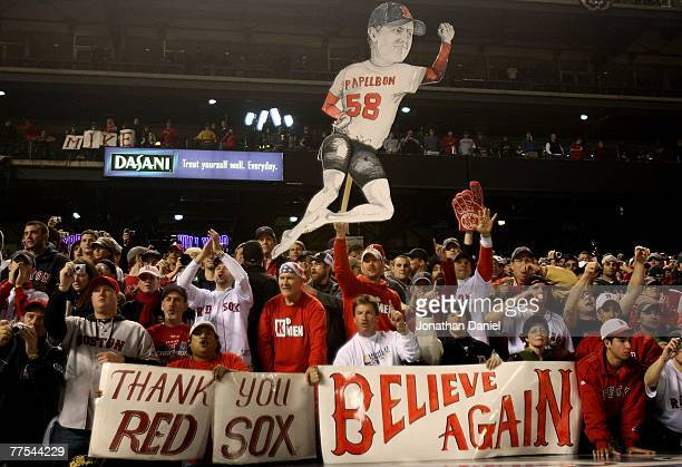 Fans of the Boston Red Sox celebrate after their team won Game Four by a score of the 43 to win the 2007 Major League Baseball World Series in a four...