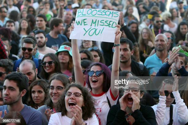 Fans of the British band Blossoms during their concert at the NOS Alive 2018 music festival in Lisbon Portugal on July 13 2018