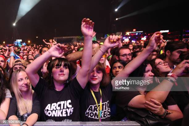 Fans of the British rock band Arctic Monkeys during their concert at the NOS Alive 2018 music festival in Lisbon Portugal on July 12 2018