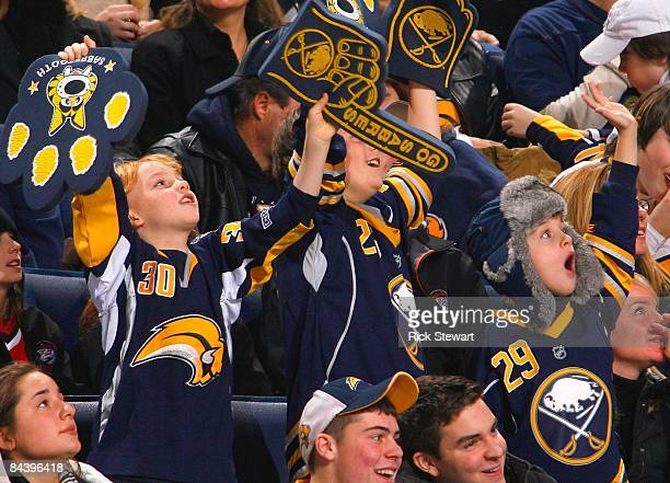 Fans of the Buffalo Sabres show their support during their NHL game against the Carolina Hurricanes on January 17 2009 at HSBC Arena in Buffalo New...
