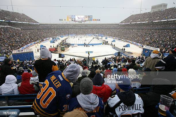 Fans of the Buffalo Sabres watch them play the Pittsburgh Penguins in the NHL Winter Classic on January 1 2008 at Ralph Wilson Stadium in Orchard...