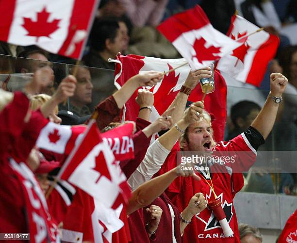 Fans of the Candian hockey team celebrate after Canada won the finals 5-3 against Sweden at the International Ice Hockey Federation World...
