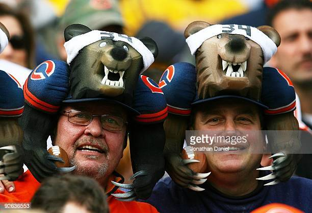 Fans of the Chicago Bears wear bear hats during a game against the Cleveland Browns at Soldier Field on November 1 2009 in Chicago Illinois The Bears...