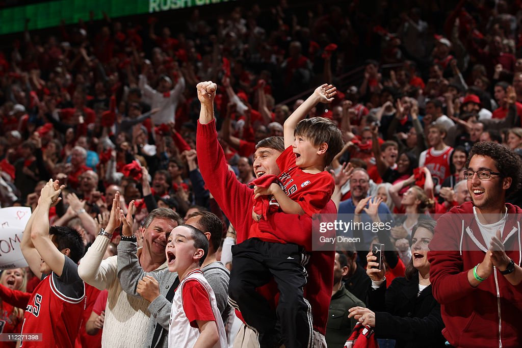 Fans of the Chicago Bulls erupt during a game against the Indiana Pacers in Game One of the Eastern Conference Quarterfinals in the 2011 NBA Playoffs between the Indiana Pacers and the Chicago Bulls on April 16, 2011 at the United Center in Chicago, Illinois.