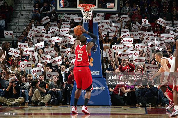 Fans of the Cleveland Cavaliers try to influence Josh Smith of the Atlanta Hawks as he attempts a free throw on December 30 2009 at The Quicken Loans...