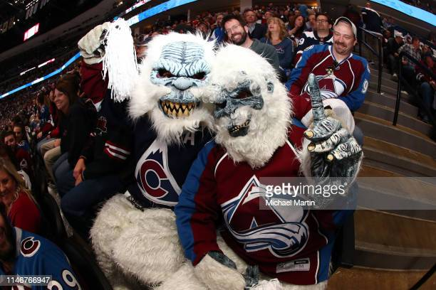 Fans of the Colorado Avalanche cheer against the San Jose Sharks in Game Four of the Western Conference Second Round during the 2019 NHL Stanley Cup...