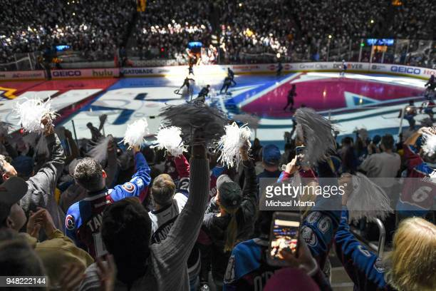 Fans of the Colorado Avalanche cheer prior to the game against the Nashville Predators in Game Three of the Western Conference First Round during the...