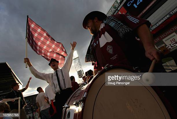 Fans of the Colorado Rapids support their team against the Kansas City Wizards at Dick's Sporting Goods Park on July 17 2010 in Commerce City Colorado