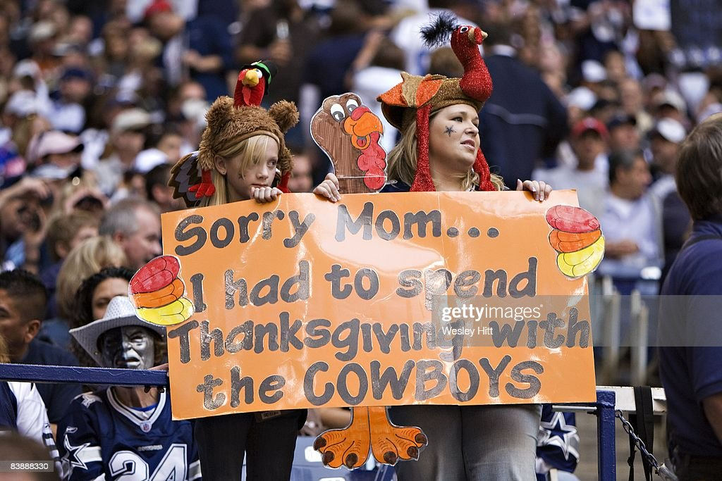 Fans of the Dallas Cowboys send a message home at Thanksgiving during a game against the Seattle Seahawks at Texas Stadium on November 27, 2008 in Irving, Texas. The Cowboys defeated the Buccaneers 34-9.