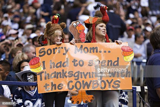 Fans of the Dallas Cowboys send a message home at Thanksgiving during a game against the Seattle Seahawks at Texas Stadium on November 27 2008 in...