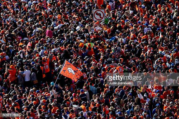 Fans of the Denver Broncos gather for a rally at Civic Center Park following a victory parade to celebrate their Super Bowl championship on February...