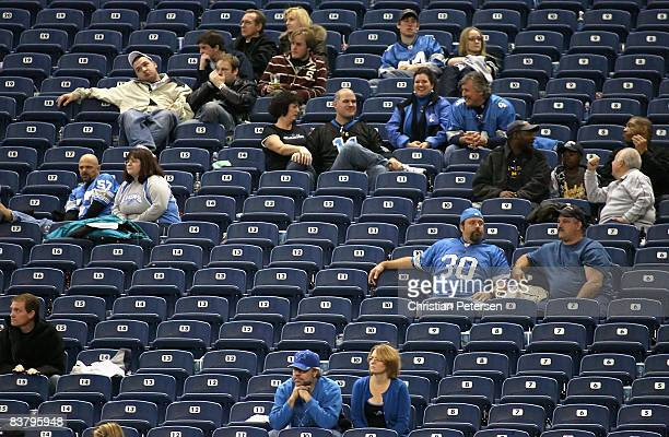 Fans of the Detroit Lions react in the final moments of the NFL game against the Tampa Bay Buccaneers at Ford Field on November 23 2008 in Detroit...