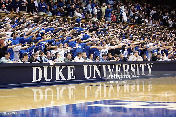 Fans of the Duke Blue Devils cheer during the game against the Clemson Tigers at Cameron Indoor Stadium January 25 2007 in Durham North Carolina The...