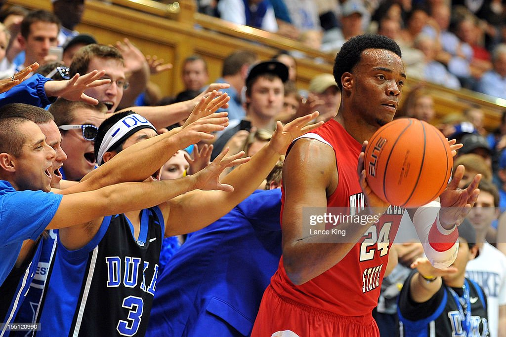 Fans of the Duke Blue Devils try to distract Kimani Hunt #24 of the Winston-Salem State Rams at Cameron Indoor Stadium on November 1, 2012 in Durham, North Carolina. Duke defeated Winston-Salem State 69-44.
