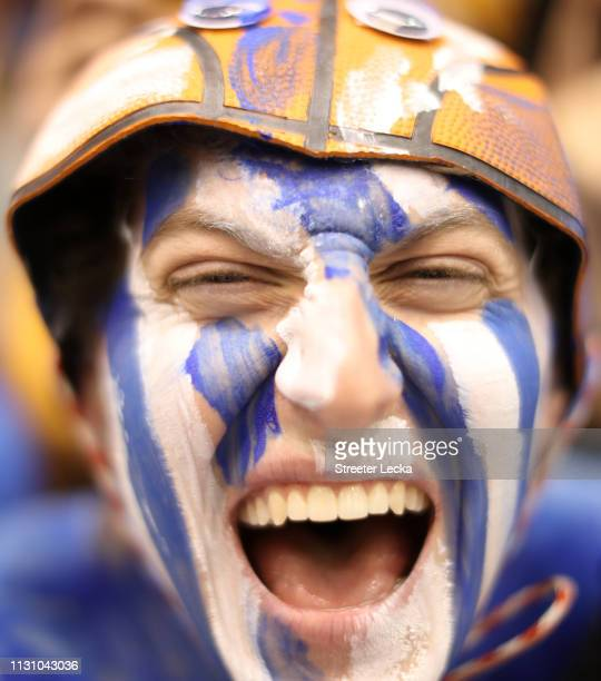 Fans of the Duke Blue Devils watch on before their game against the North Carolina Tar Heels at Cameron Indoor Stadium on February 20 2019 in Durham...