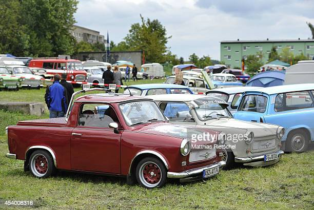 Fans of the East German Trabant car gather for their 7th annual gettogether on August 23 2014 in Zwickau Germany Hundreds of Trabant enthusiasts...