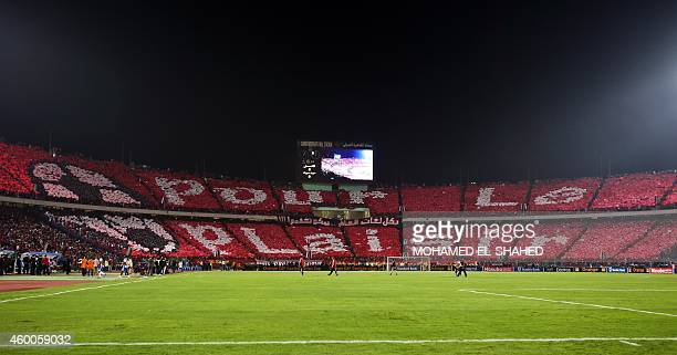 Fans of the Egypt's AlAhly display a message which reads 'for fun' ahead of the second leg of the CAF Confederation Cup final football match between...