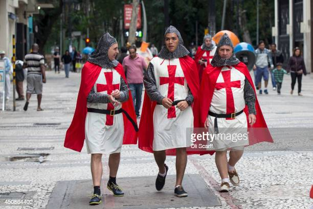 Fans of the England football team gather in central Sao Paulo ahead of the England's match against Uruguay on June 19 2014 in Sao Paulo Brazil...