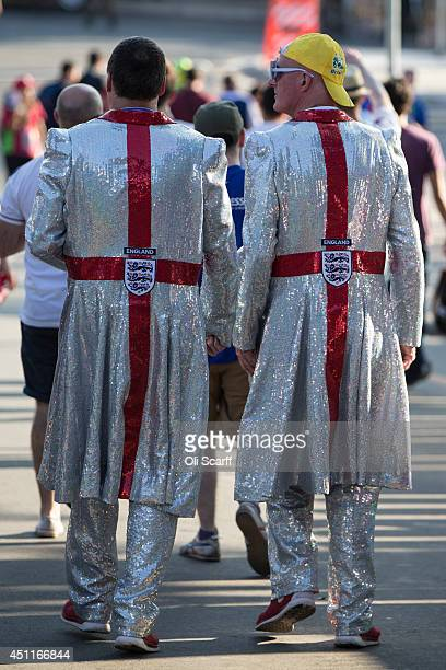 Fans of the England football team leave the Mineirao Stadium after watching England play Costa Rica on June 24 2014 in Belo Horizonte Brazil England...