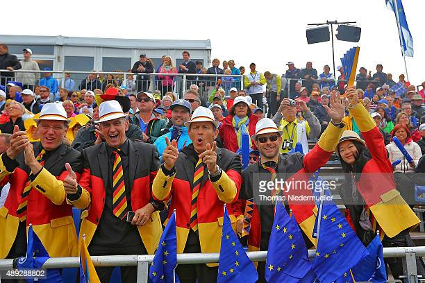 Fans of the European Team are seen at the first tee during the Sundays single matches in the 2015 Solheim Cup at St LeonRot Golf Club on September 20...