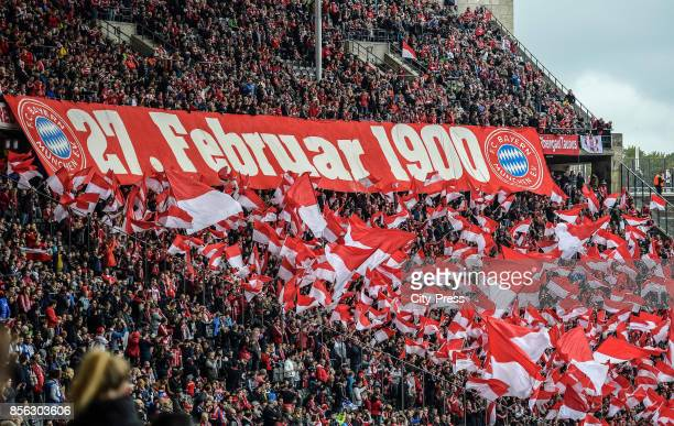 fans of the FC Bayern Muenchen before the game between Hertha BSC and FC Bayern Muenchen on october 1 2017 in Berlin Germany