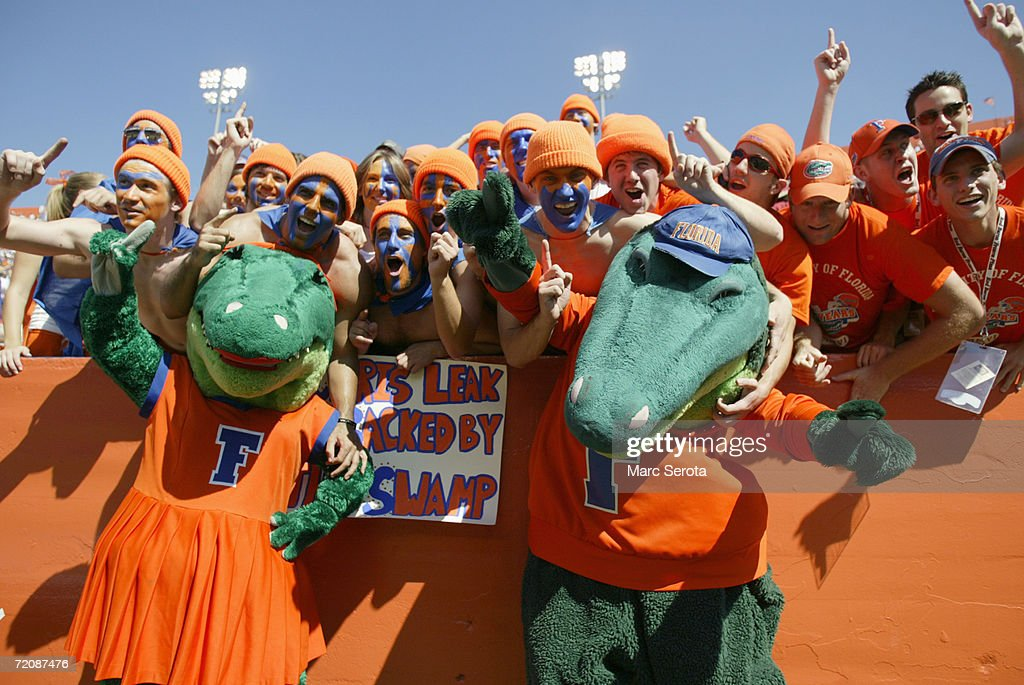 Fans of the Florida Gators cheer during the game against the Alabama Crimson Tide on September 30, 2006 at Ben Hill Griffin Stadium at Florida Field in Gainesville, Florida. Florida won 28-13.