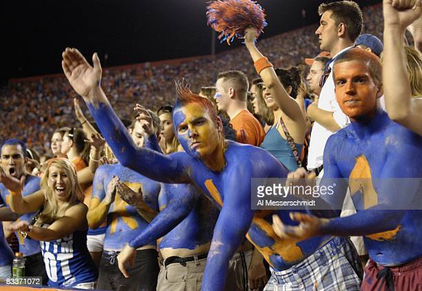 Fans of the Florida Gators cheer play against the LSU Tigers at Ben Hill Griffin Stadium on October 11 2008 in Gainesville Florida