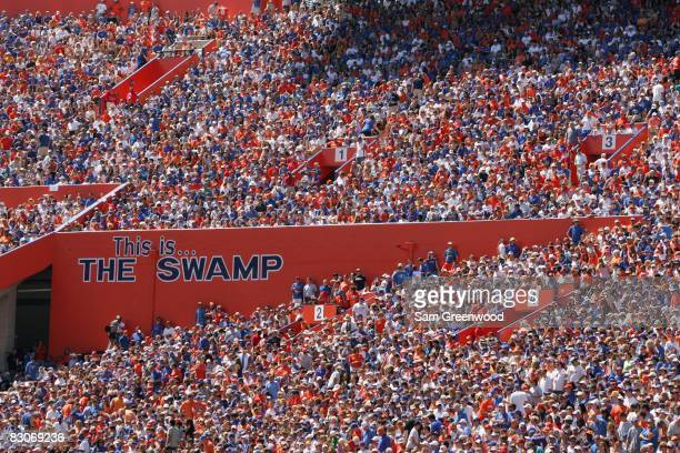 Fans of the Florida Gators fill the stands during the game against the Mississippi Rebels at Ben Hill Griffin Stadium on September 27, 2008 in...