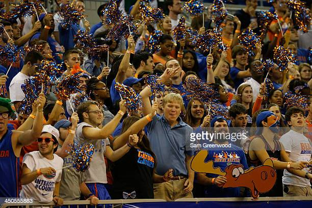 Fans of the Florida Gators support their team during the game against the Arkansas Little Rock Trojans at Stephen C O'Connell Center on November 16...