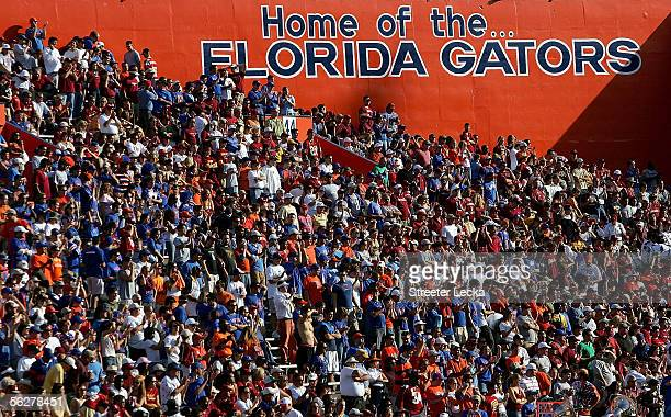 Fans of the Florida Gators watch on during their game against the Florida State Seminoles on November 26 2005 at Ben Hill Griffin Stadium in...