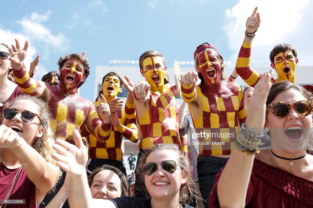 Fans of the Florida State Seminoles during the game against the Charleston Southern Buccaneers at Doak Campbell Stadium on Bobby Bowden Field on September 10, 2016 in Tallahassee, Florida. The 3rd ranked Florida State defeated Charleston Southern 52 to 8.