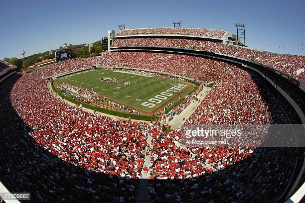 Fans of the Georgia Bulldogs watch play against the Mississippi Rebels at Sanford Stadium on September 29 2007 in Athens Georgia Georgia won 45 17