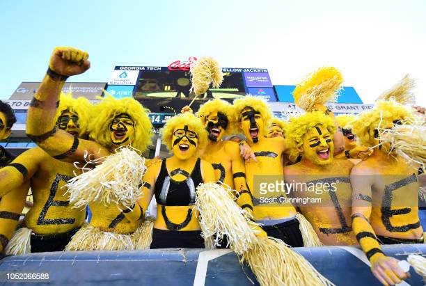Fans of the Georgia Tech Yellow Jackets celebrate during the game against the Duke Blue Devils on October 13 2018 in Atlanta Georgia