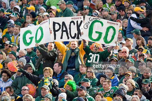 Fans of the Green Bay Packers show their support against the Detroit Lions at Lambeau Field on October 18 2009 in Green Bay Wisconsin