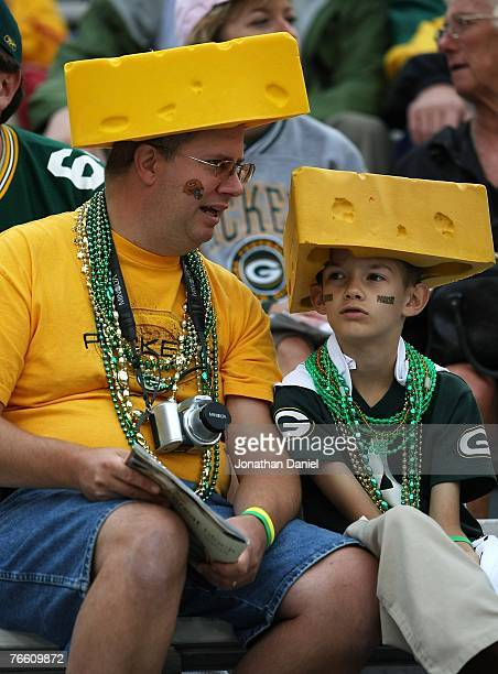 Fans of the Green Bay Packers watch warmups before a game against the Philadelphia Eagles on September 9 2007 at Lambeau Field in Green Bay Wisconsin