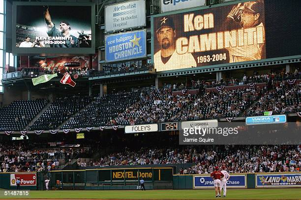 Fans of the Houston Astros remember Ken Caminiti before the start of game three of National League Championship Series against the St Louis Cardinals...