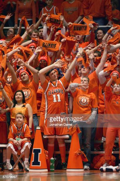 Fans of the Illinois Fighting Illini cheer in the stands during the game against the Indiana Hoosiers on February 19, 2006 at the Assembly Hall at...