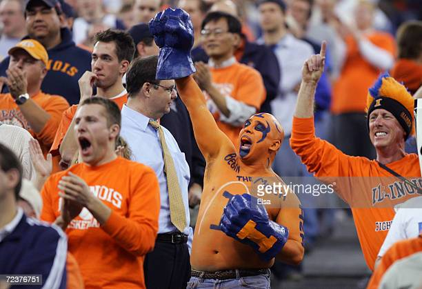 Fans of the Illinois Fighting Illini including Ceasar Perez against the Fairleigh Dickinson Knights in the first round game of the NCAA Division I...