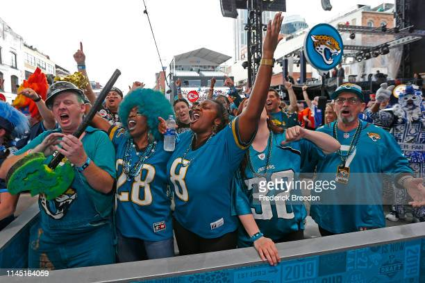 Fans of the Jacksonville Jaguars attend Day 1 of the 2019 NFL Draft on April 25 2019 in Nashville Tennessee