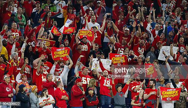 Fans of the Kansas City Chiefs celebrate their 300 win over the Houston Texans during the AFC Wild Card Playoff game at NRG Stadium on January 9 2016...