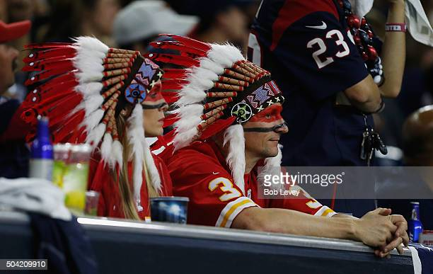 Fans of the Kansas City Chiefs watch play against the Houston Texans during the AFC Wild Card Playoff game at NRG Stadium on January 9 2016 in...